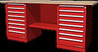 Верстак слесарный, двухтумбовый, столешница из фанеры, красный FERRUM 01.288W-3000