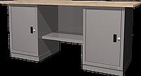 Верстак слесарный, двухтумбовый, столешница из фанеры, серый FERRUM 01.200W-7035