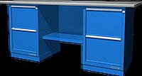 Верстак слесарный, двухтумбовый, оцинкованная столешница, синий FERRUM 01.222G-5015