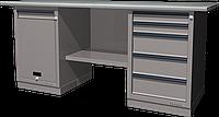 Верстак слесарный, двухтумбовый, оцинкованная столешница, серый FERRUM 01.215G-7035