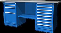 Верстак слесарный, двухтумбовый, оцинкованная столешница, синий FERRUM 01.248G-5015