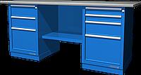 Верстак слесарный, двухтумбовый, оцинкованная столешница, синий FERRUM 01.234G-5015