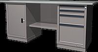 Верстак слесарный, двухтумбовый, оцинкованная столешница, серый FERRUM 01.204G-7035