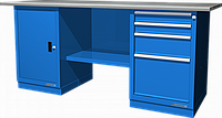 Верстак слесарный, двухтумбовый, оцинкованная столешница, синий FERRUM 01.204G-5015