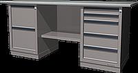 Верстак слесарный, двухтумбовый, оцинкованная столешница, серый FERRUM 01.225G-7035