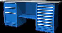 Верстак слесарный, двухтумбовый, оцинкованная столешница, синий FERRUM 01.238G-5015