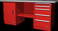 Верстак слесарный, двухтумбовый, оцинкованная столешница, красный FERRUM 01.205G-3000