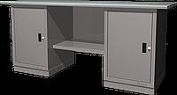 Верстак слесарный, двухтумбовый, оцинкованная столешница, серый FERRUM 01.200G-7035