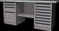 Верстак слесарный, двухтумбовый, оцинкованная столешница, серый FERRUM 01.248G-7035
