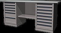 Верстак слесарный, двухтумбовый, оцинкованная столешница, серый FERRUM 01.268G-7035