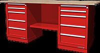 Верстак слесарный, двухтумбовый, столешница из фанеры, красный FERRUM 01.255W-3000