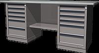 Верстак слесарный, двухтумбовый, оцинкованная столешница, серый FERRUM 01.266G-7035