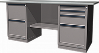 Верстак слесарный, двухтумбовый, оцинкованная столешница, серый FERRUM 01.224G-7035