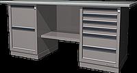 Верстак слесарный, двухтумбовый, оцинкованная столешница, серый FERRUM 01.226G-7035