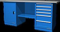 Верстак слесарный, двухтумбовый, оцинкованная столешница, синий FERRUM 01.206G-5015