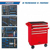Набор инструментов FOCUS в красной тележке, 188 предметов KING TONY 934-188MRV