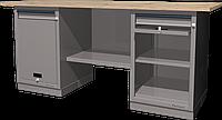 Верстак слесарный, двухтумбовый, столешница из фанеры, серый FERRUM 01.211W-7035