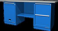 Верстак слесарный, двухтумбовый, оцинкованная столешница, синий FERRUM 01.212G-5015