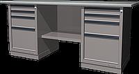 Верстак слесарный, двухтумбовый, оцинкованная столешница, серый FERRUM 01.244G-7035