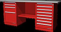 Верстак слесарный, двухтумбовый, оцинкованная столешница, красный FERRUM 01.248G-3000