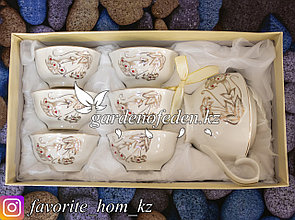 Чайный сервиз с декором. Материал: Керамика. Цвет: Белый. Набор: 7 предметов.
