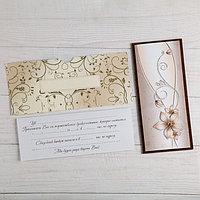 """Деревянная открытка-приглашение """"Свадебная"""" накладные элементы, цветок"""