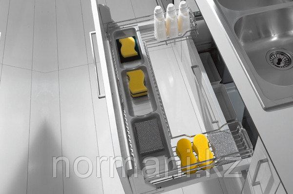 Выдвижная корзина 1200 П-образная под мойку выдвижная с доводчиком, отделка хром