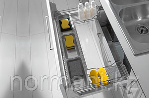 Выдвижная корзина 900 П-образная под мойку выдвижная с доводчиком, отделка хром
