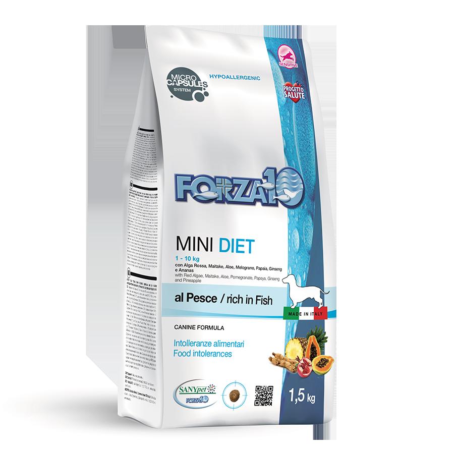 Гипоаллергенный корм Forza10 Mini Diet для взрослых собак (Рыба) - 1.5 кг