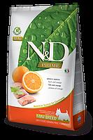 Беззерновой корм Farmina N&D Adult Mini для взрослых собак мелких пород (Рыба, Апельсин) - 800 г