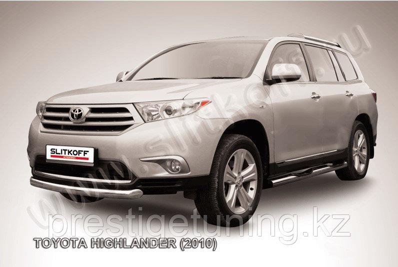 Защита переднего бампера d76 радиусная Toyota Highlander 2011-13