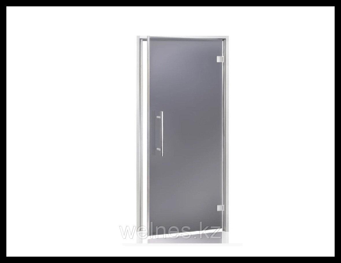 Дверь для хамама Andres LUX 7х19 Bianco Grey (короб - алюминий, стекло - серое, без порога)