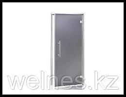 Дверь для паровой комнаты Andres LUX 7х19 Bianco Grey (короб - алюминий, стекло - серое, без порога)