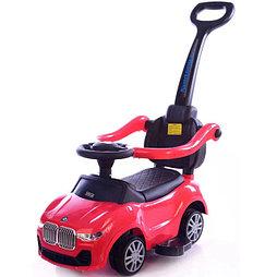 Толокар BMW с ручкой для родителей красный