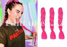 Канекалон накладные волосы одноцветные 60 см Ярко-розовый A18