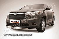 Защита переднего бампера d57+d42 двойная Toyota Highlander 2014-17