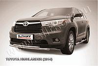 Защита переднего бампера d57+d42 двойная радиусная Toyota Highlander 2014-17