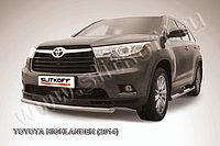 Защита переднего бампера d57 радиусная Toyota Highlander 2014-17