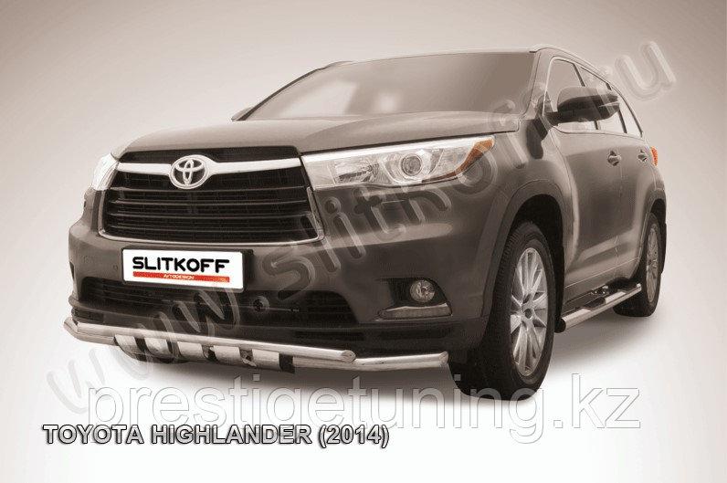 Защита переднего бампера d57+d42 двойная с профильной ЗК Toyota Highlander 2014-17
