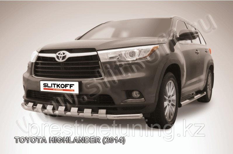 Защита переднего бампера d57 с декоративными элементами Toyota Highlander 2014-17