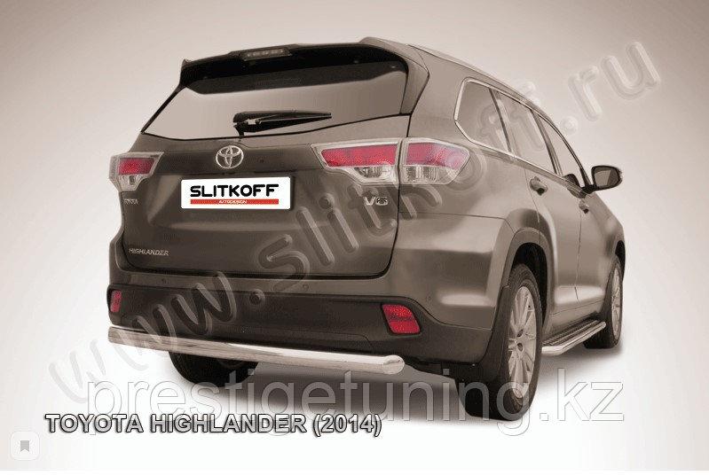 Защита заднего бампера d76 радиусная Toyota Highlander 2014-17
