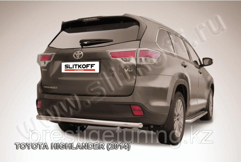 Защита заднего бампера d57 радиусная Toyota Highlander 2014-17
