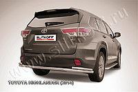 Защита заднего бампера d57+d42 двойная длинная Toyota Highlander 2014-17