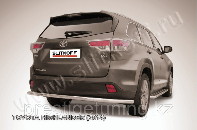 Защита заднего бампера d57 длинная Toyota Highlander 2014-17