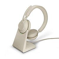 Беспроводная гарнитура Jabra Evolve2 65, Link380c MS Stereo Desk Stand Beige (26599-999-888), фото 1