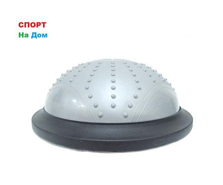 Полусфера гимнастическая с пупырышками, цвет серый BOSU (диаметр 46 см), фото 2