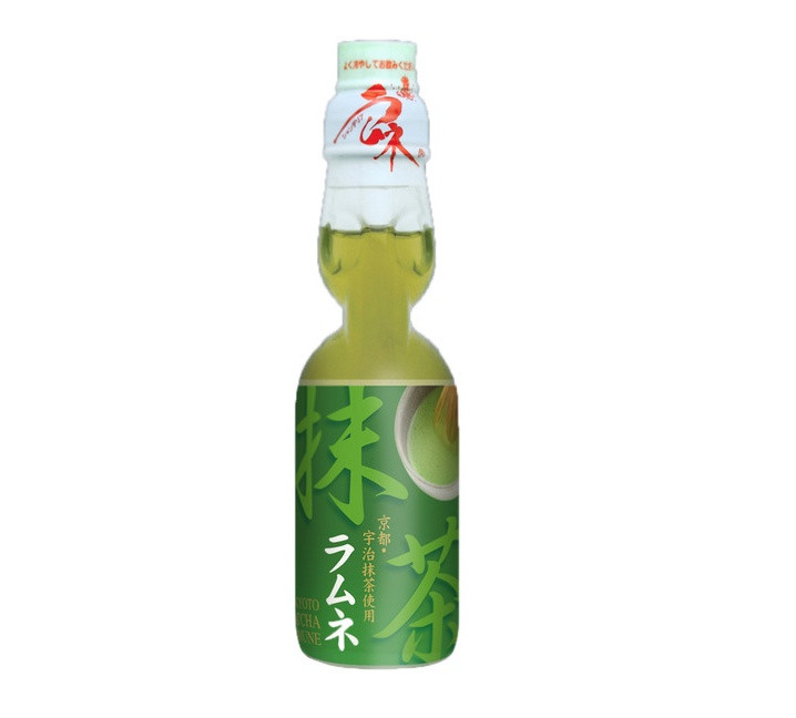Газированный японский напиток Hatakosen Ramune Зеленый Чай 200мл