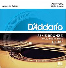 Струны для акустической гитары Light 11-52 D`Addario EZ910 AMERICAN BRONZE 85/15