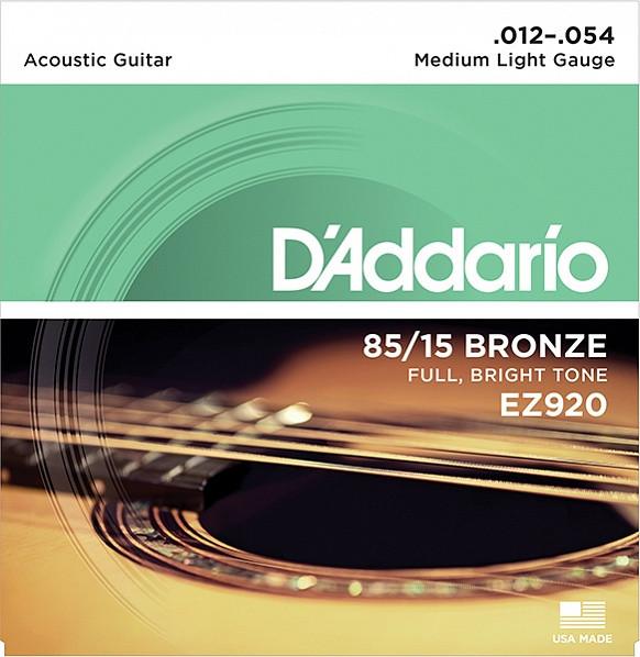 Струны для акустической гитары Medium Light 12-54 D`Addario EZ920 AMERICAN BRONZE 85/15