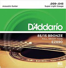 Струны для акустической гитары Super Light 9-45 D`Addario EZ890 AMERICAN BRONZE 85/15
